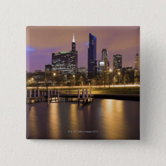 USA, Illinois, Chicago, City skyline and marina 15 Cm Square Badge