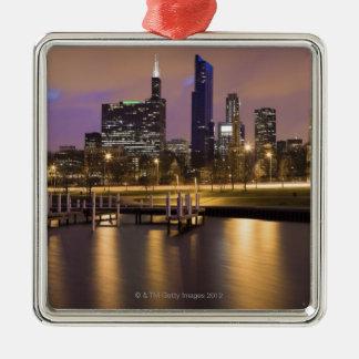 USA, Illinois, Chicago, City skyline and marina Christmas Ornament