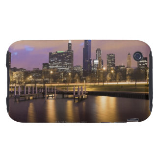 USA, Illinois, Chicago, City skyline and marina Tough iPhone 3 Case