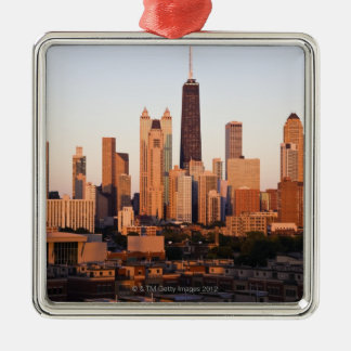 USA, Illinois, Chicago, City skyline at sunset Christmas Ornament