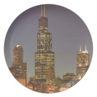 USA, Illinois, Chicago: City Skyline / Evening Plate