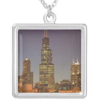 USA, Illinois, Chicago: City Skyline / Evening Silver Plated Necklace