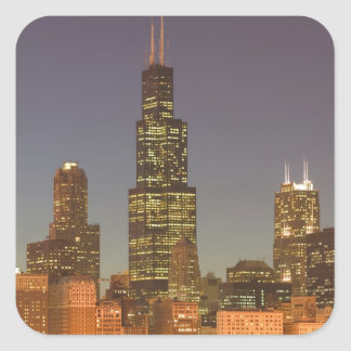 USA, Illinois, Chicago: City Skyline / Evening Square Sticker