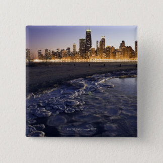 USA, Illinois, Chicago, City skyline from Lake 15 Cm Square Badge