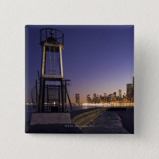 USA, Illinois, Chicago, City skyline from Lake 2 15 Cm Square Badge