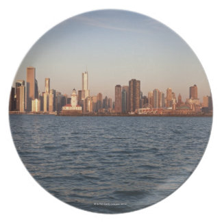 USA, Illinois, Chicago, City skyline over Lake 10 Dinner Plate