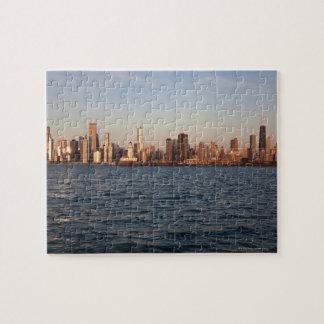 USA, Illinois, Chicago, City skyline over Lake 10 Jigsaw Puzzle