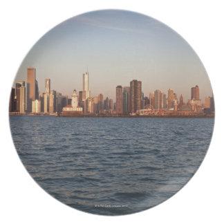 USA, Illinois, Chicago, City skyline over Lake 10 Plate