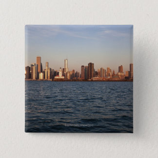 USA, Illinois, Chicago, City skyline over Lake 15 Cm Square Badge