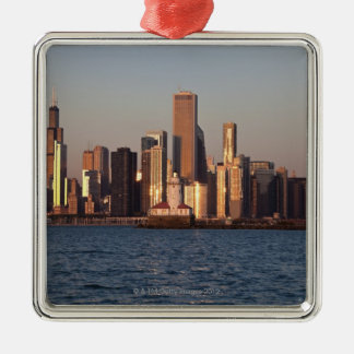 USA, Illinois, Chicago, City skyline over Lake 2 Christmas Ornament