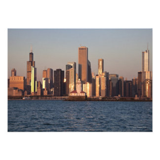 USA Illinois Chicago City skyline over Lake 2 Invitation
