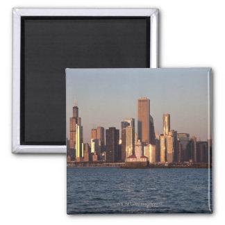 USA, Illinois, Chicago, City skyline over Lake 2 Square Magnet