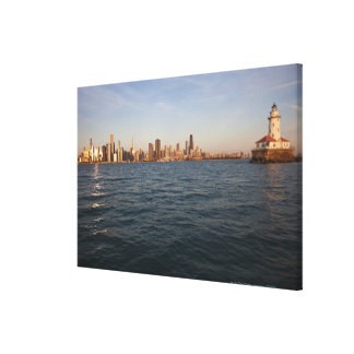 USA, Illinois, Chicago, City skyline over Lake 3 Canvas Print
