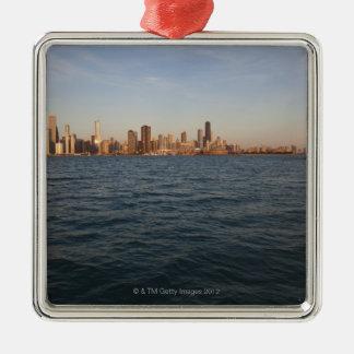 USA, Illinois, Chicago, City skyline over Lake 3 Christmas Ornament