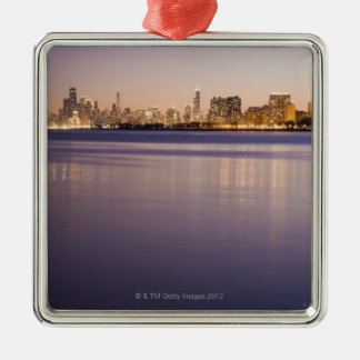 USA, Illinois, Chicago, City skyline over Lake 3 Christmas Ornament