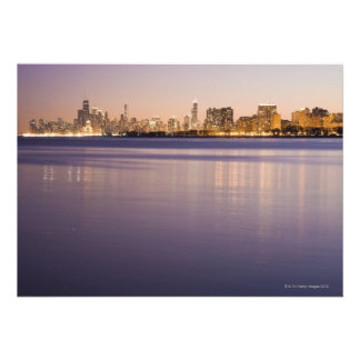 USA Illinois Chicago City skyline over Lake 3 Personalized Announcements