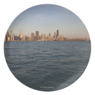 USA, Illinois, Chicago, City skyline over Lake 3 Plate
