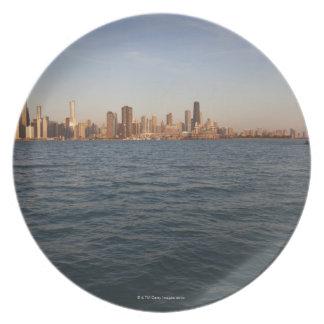 USA, Illinois, Chicago, City skyline over Lake 3 Plate