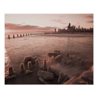 USA, Illinois, Chicago, City skyline over Lake 4 Poster