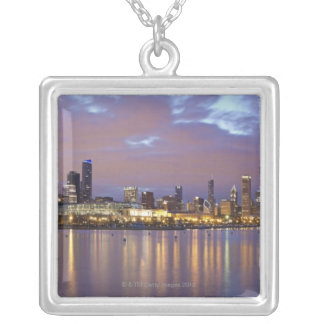 USA, Illinois, Chicago, City skyline over Lake 5 Silver Plated Necklace