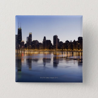 USA, Illinois, Chicago, City skyline over Lake 6 15 Cm Square Badge