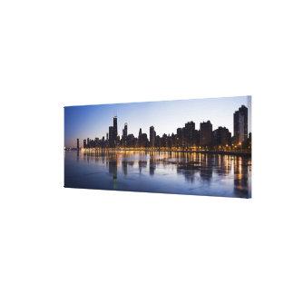 USA, Illinois, Chicago, City skyline over Lake 6 Canvas Print