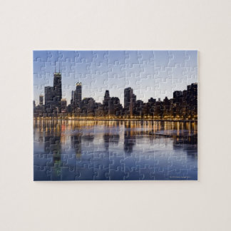 USA, Illinois, Chicago, City skyline over Lake 6 Jigsaw Puzzle