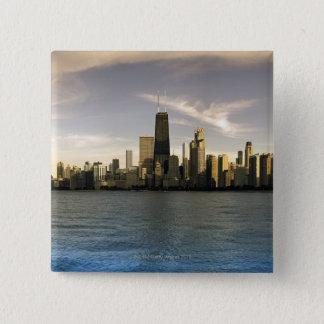 USA, Illinois, Chicago, City skyline over Lake 7 15 Cm Square Badge
