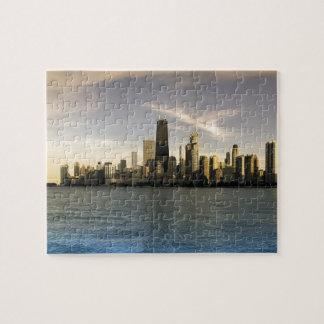 USA, Illinois, Chicago, City skyline over Lake 7 Jigsaw Puzzle