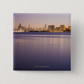 USA, Illinois, Chicago, City skyline over Lake 8 15 Cm Square Badge