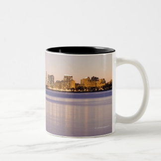USA, Illinois, Chicago, City skyline over Lake 8 Two-Tone Coffee Mug