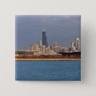 USA, Illinois, Chicago, City skyline over Lake 9 15 Cm Square Badge