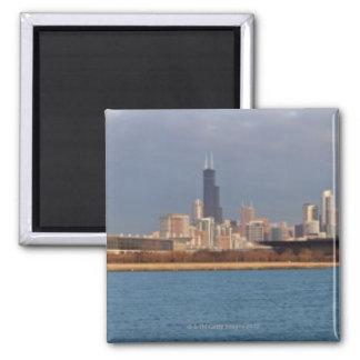 USA, Illinois, Chicago, City skyline over Lake 9 Square Magnet