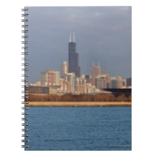 USA, Illinois, Chicago, City skyline over Lake 9 Spiral Notebook