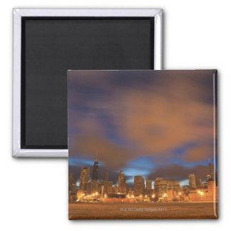 USA, Illinois, Chicago, City skyline over Lake Square Magnet