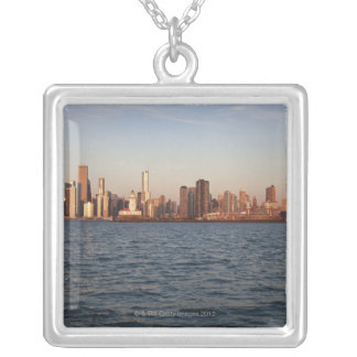 USA, Illinois, Chicago, City skyline over Lake Silver Plated Necklace