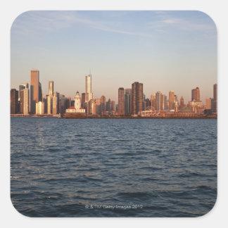 USA, Illinois, Chicago, City skyline over Lake Square Sticker
