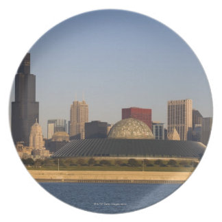 USA, Illinois, Chicago, City skyline with Adler Plate