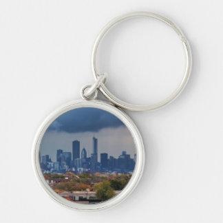 USA, Illinois, Chicago, cityscape Silver-Colored Round Key Ring