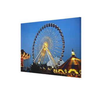 USA, Illinois, Chicago, Cityscapes, Lighted Canvas Print