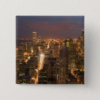USA, Illinois, Chicago: Evening View of The Loop 2 15 Cm Square Badge