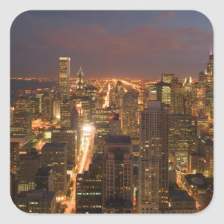 USA, Illinois, Chicago: Evening View of The Loop 2 Square Sticker