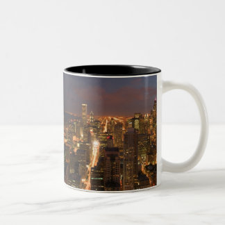 USA, Illinois, Chicago: Evening View of The Loop 2 Two-Tone Coffee Mug
