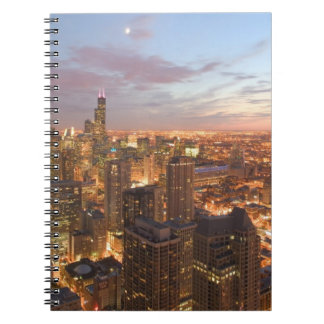 USA, Illinois, Chicago: Evening View of The Loop Spiral Notebook