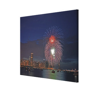 USA, Illinois, Chicago, Fourth of July fireworks Canvas Print