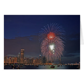 USA, Illinois, Chicago, Fourth of July fireworks Card
