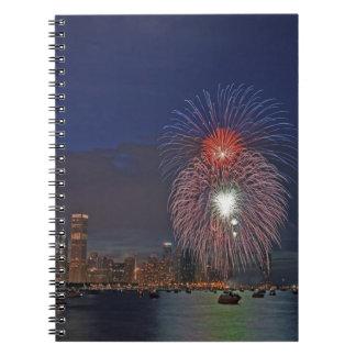 USA, Illinois, Chicago, Fourth of July fireworks Notebooks