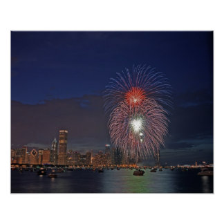 USA, Illinois, Chicago, Fourth of July fireworks Poster