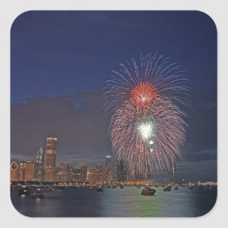 USA, Illinois, Chicago, Fourth of July fireworks Square Sticker