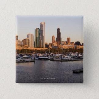 USA, Illinois, Chicago harbor and skyline 15 Cm Square Badge